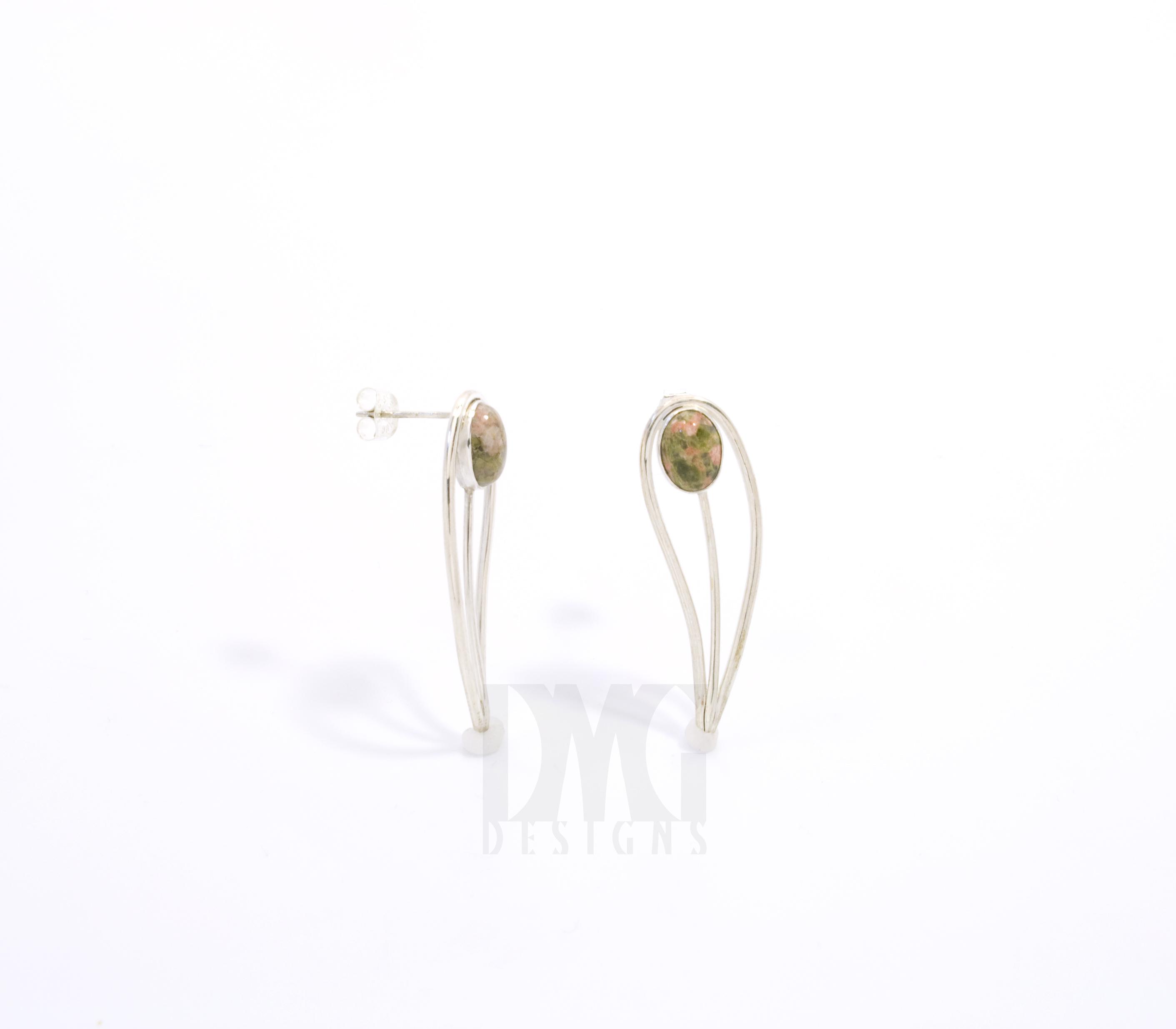 Unakite Leaf Gesture Drop Earrings