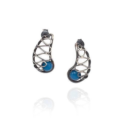 Nautilus Lace Earrings - Blue Onyx