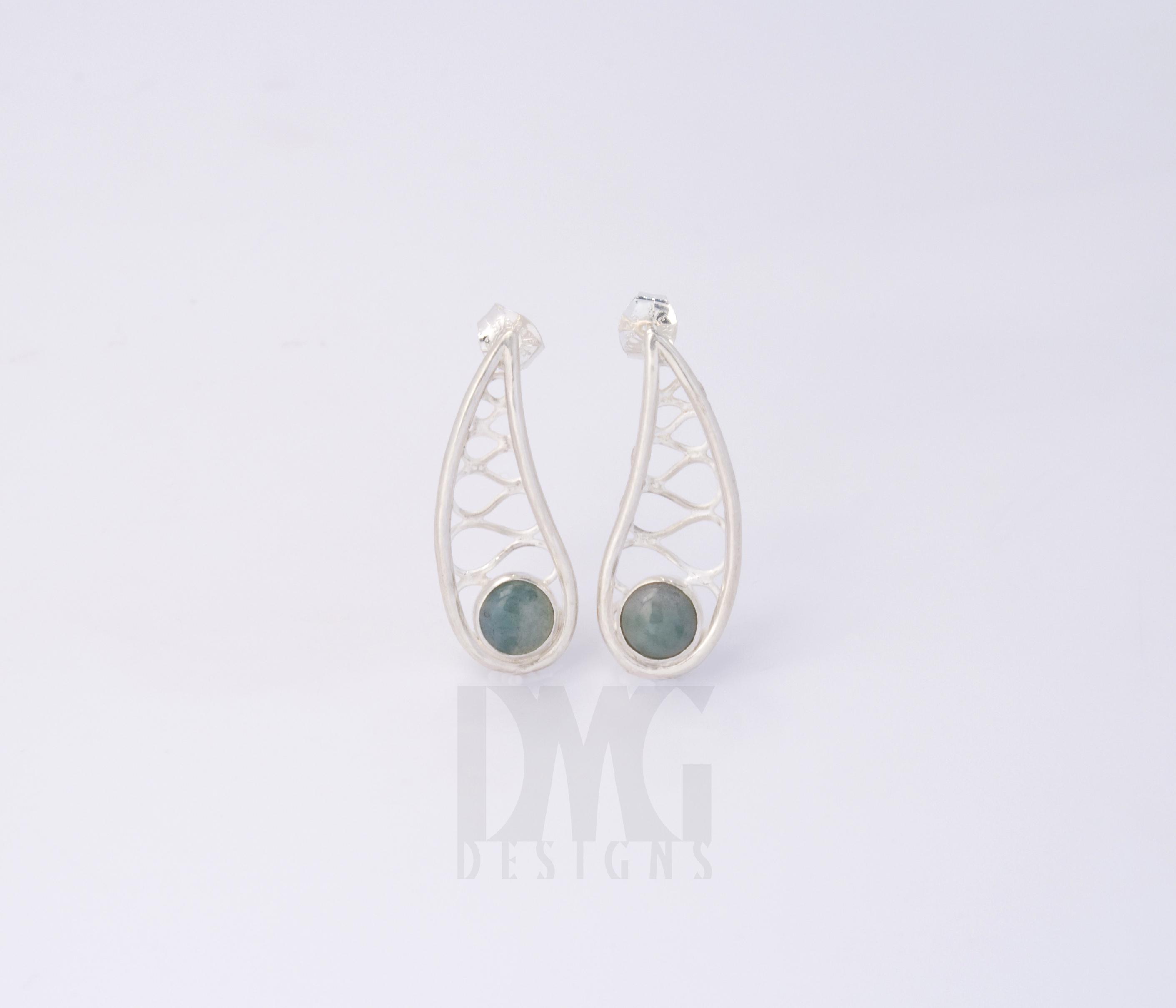 Fancy Jasper Wirework Leaf Drop Earrings