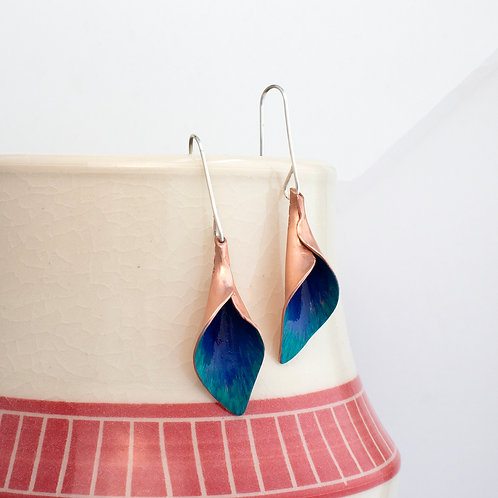 Painted Copper Calla Lily Dangle Earrings