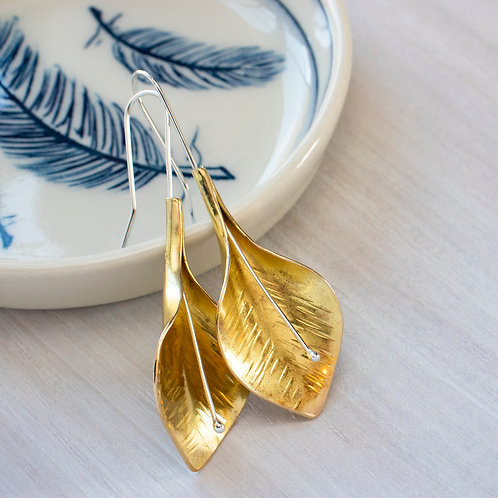Brass Peace Lily Dangle Earrings