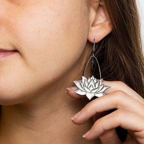 Oxidized Lotus Earrings