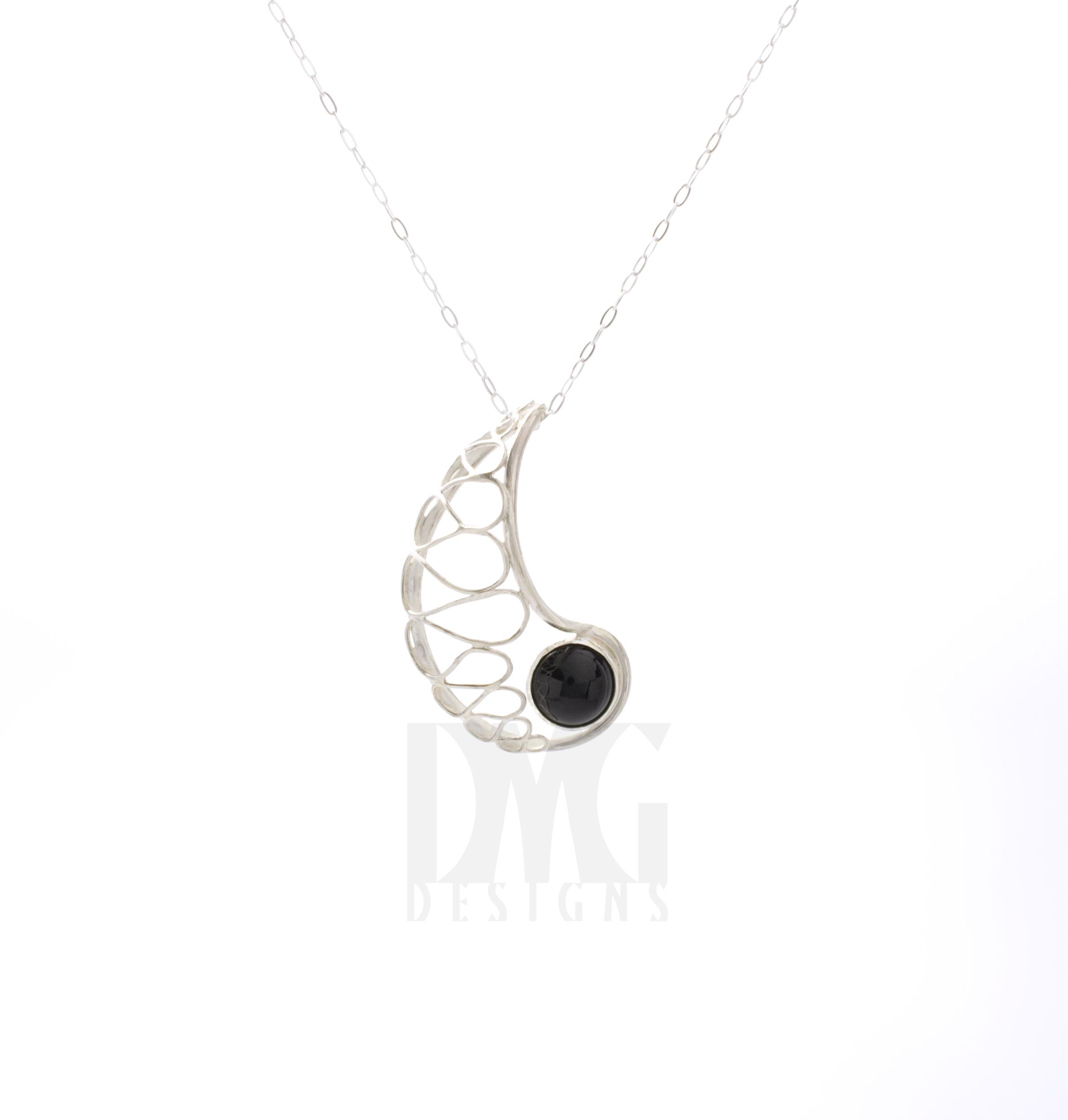 Black Onyx Nautilus Form Pendant