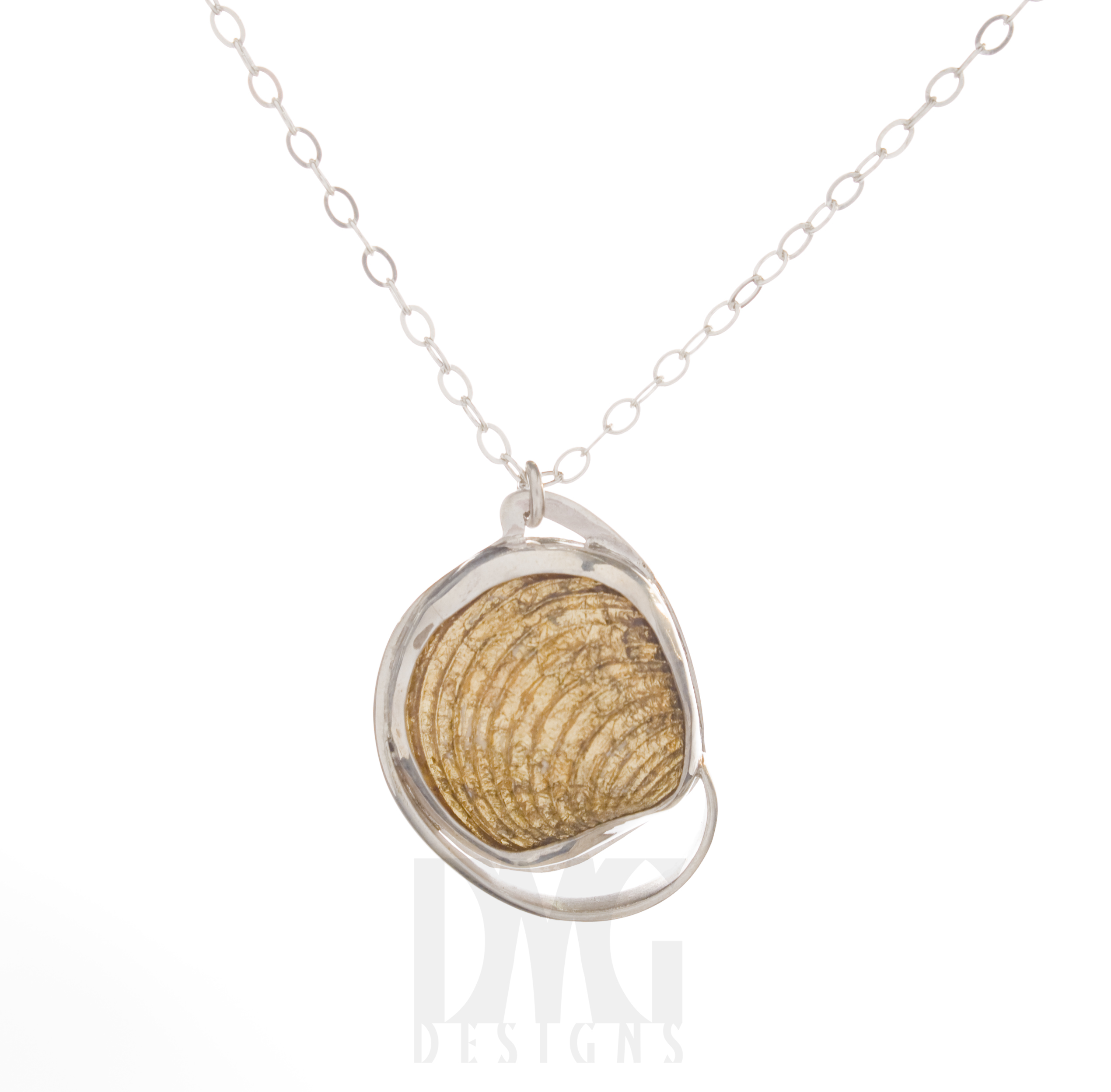 Gold Leaf Clam Wave Pendant