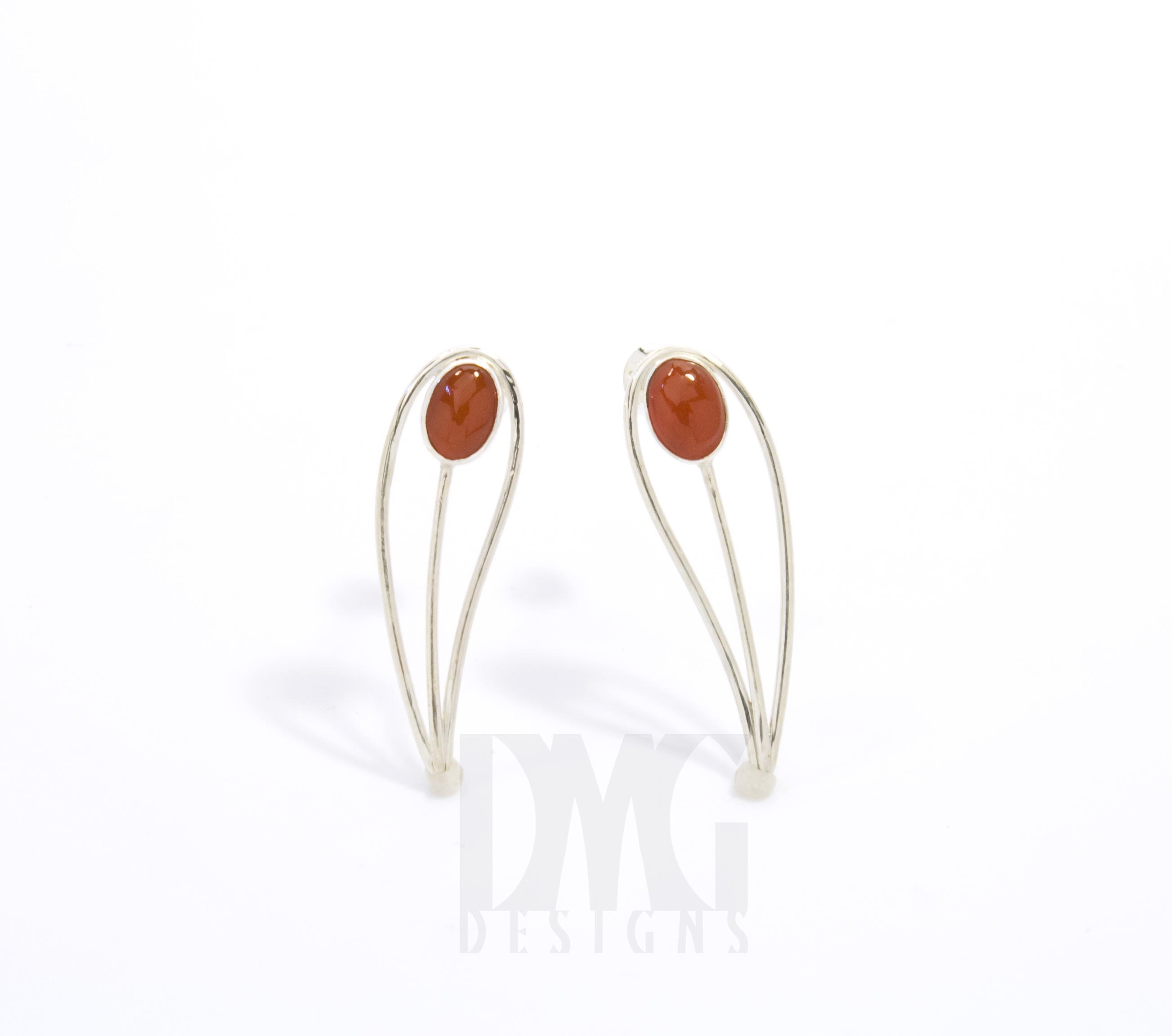 Carnelian Leaf Gesture Drop Earrings