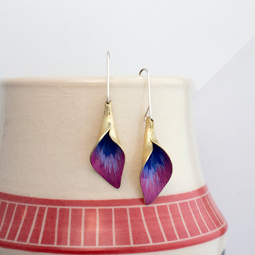 Painted Brass Calla Lily Dangle Earrings