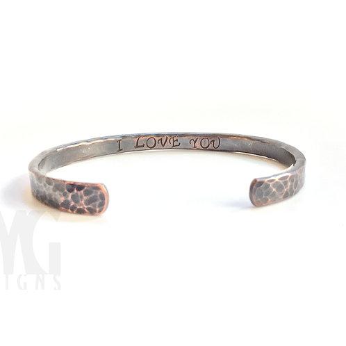 Hidden Text Forged Cuff Bracelet