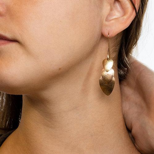 Scales Dangle Earrings in 14k Gold