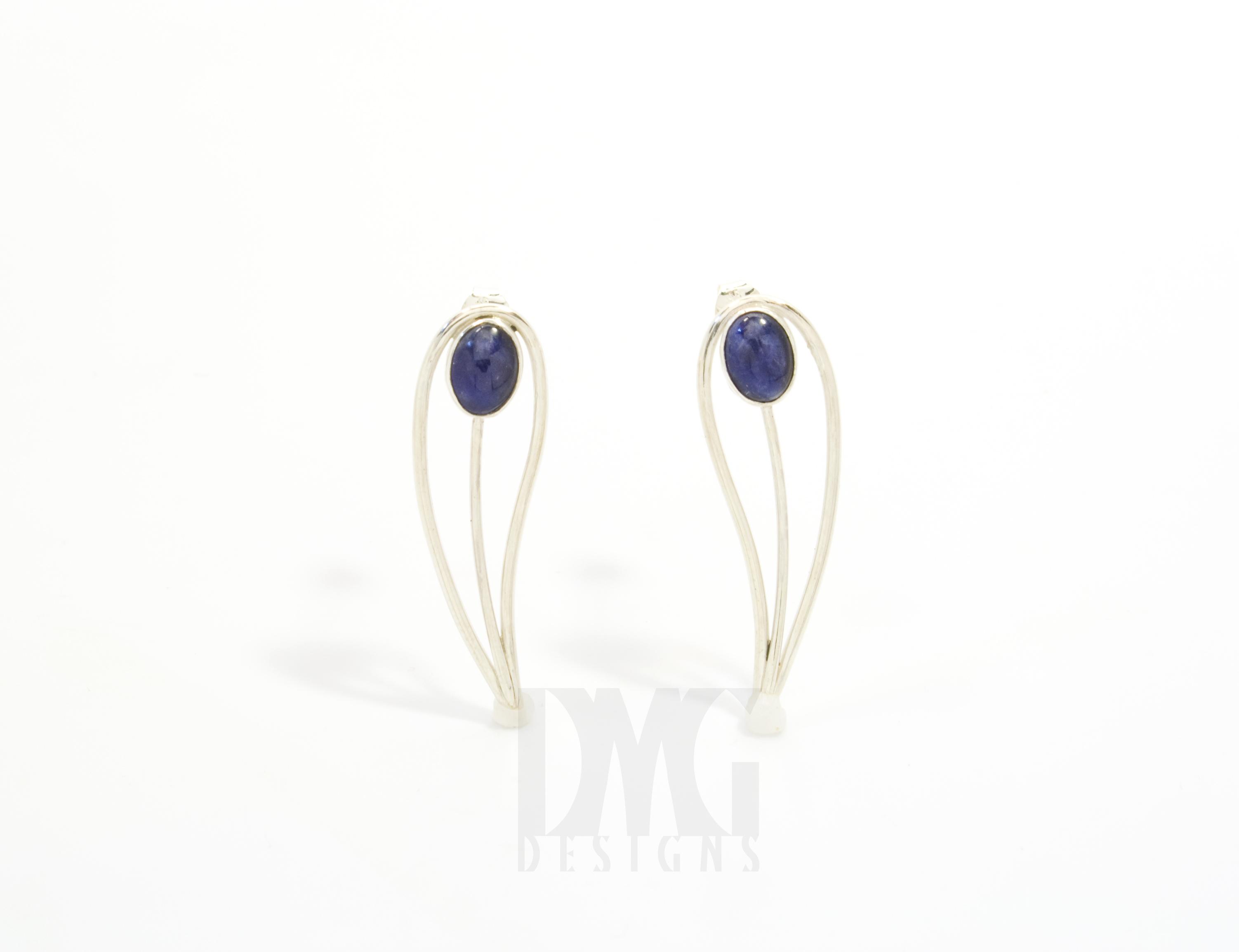 Sodalite Leaf Gesture Drop Earrings