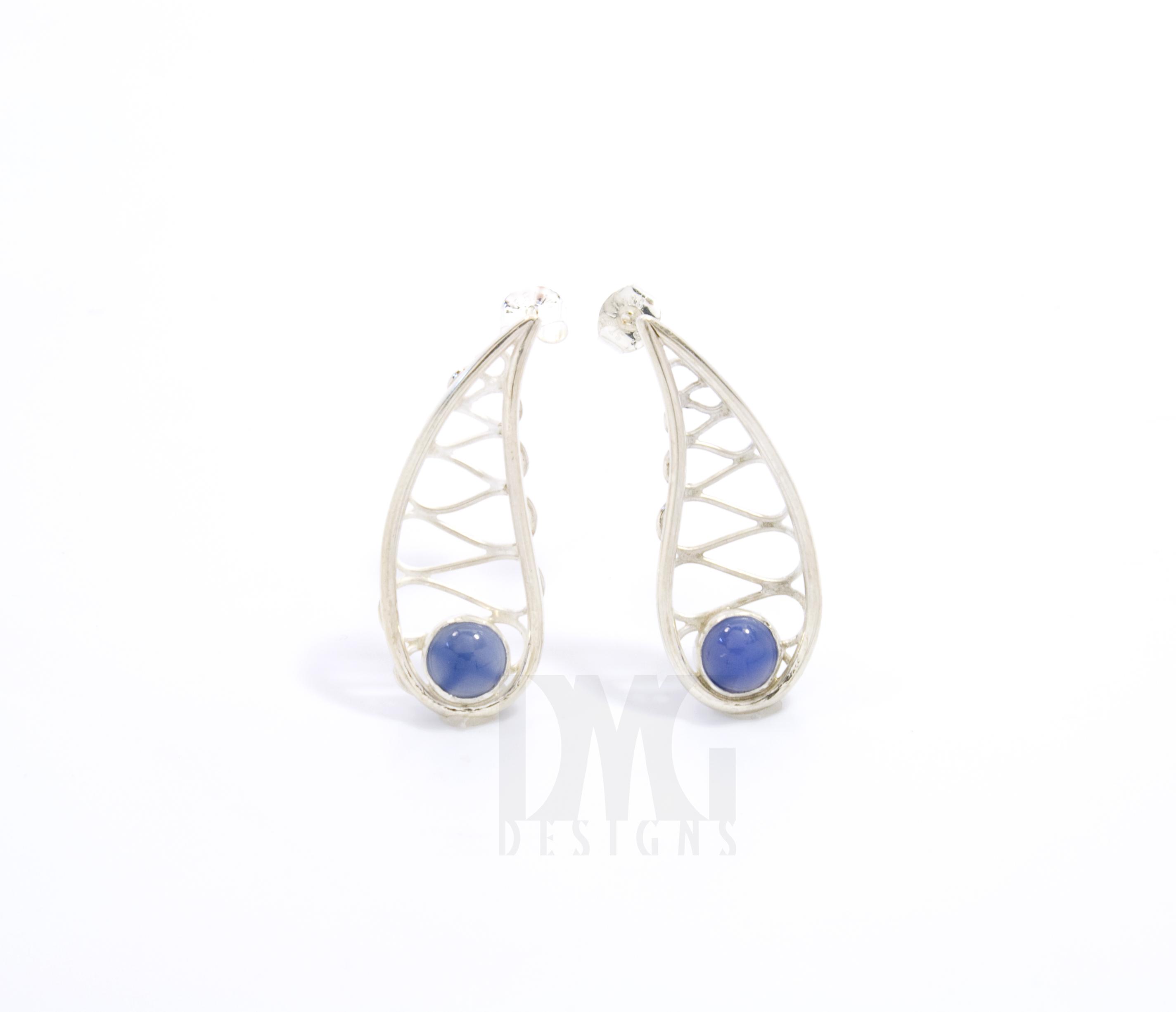 Blue onyx Gesture Leaf wirework earrings