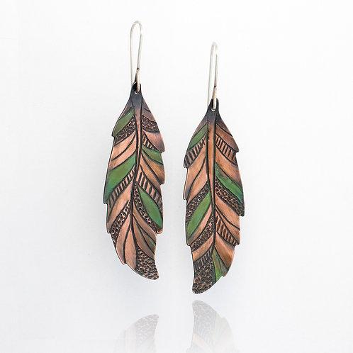 Copper Patterned Feather Dangle Earrings