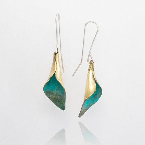Green Brass Calla Lily Dangle Earrings