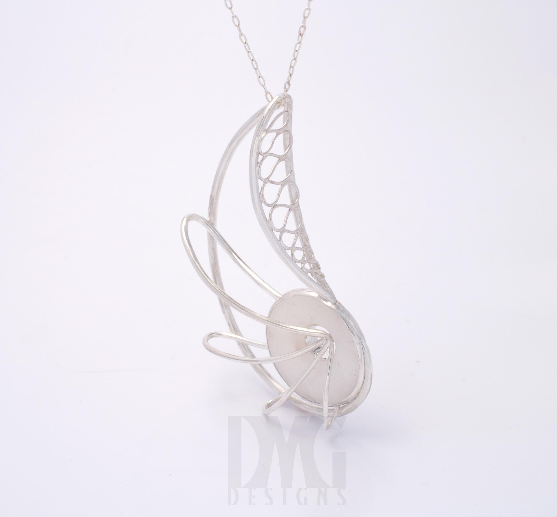 Quartz Nautilus Wireframe Pendant
