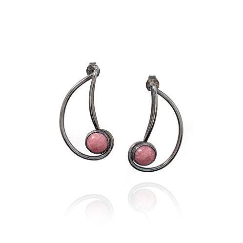 Simple Nautilus Earrings - Rhodonite