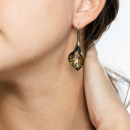 Confetti Brass Peace Lily Dangle Earrings