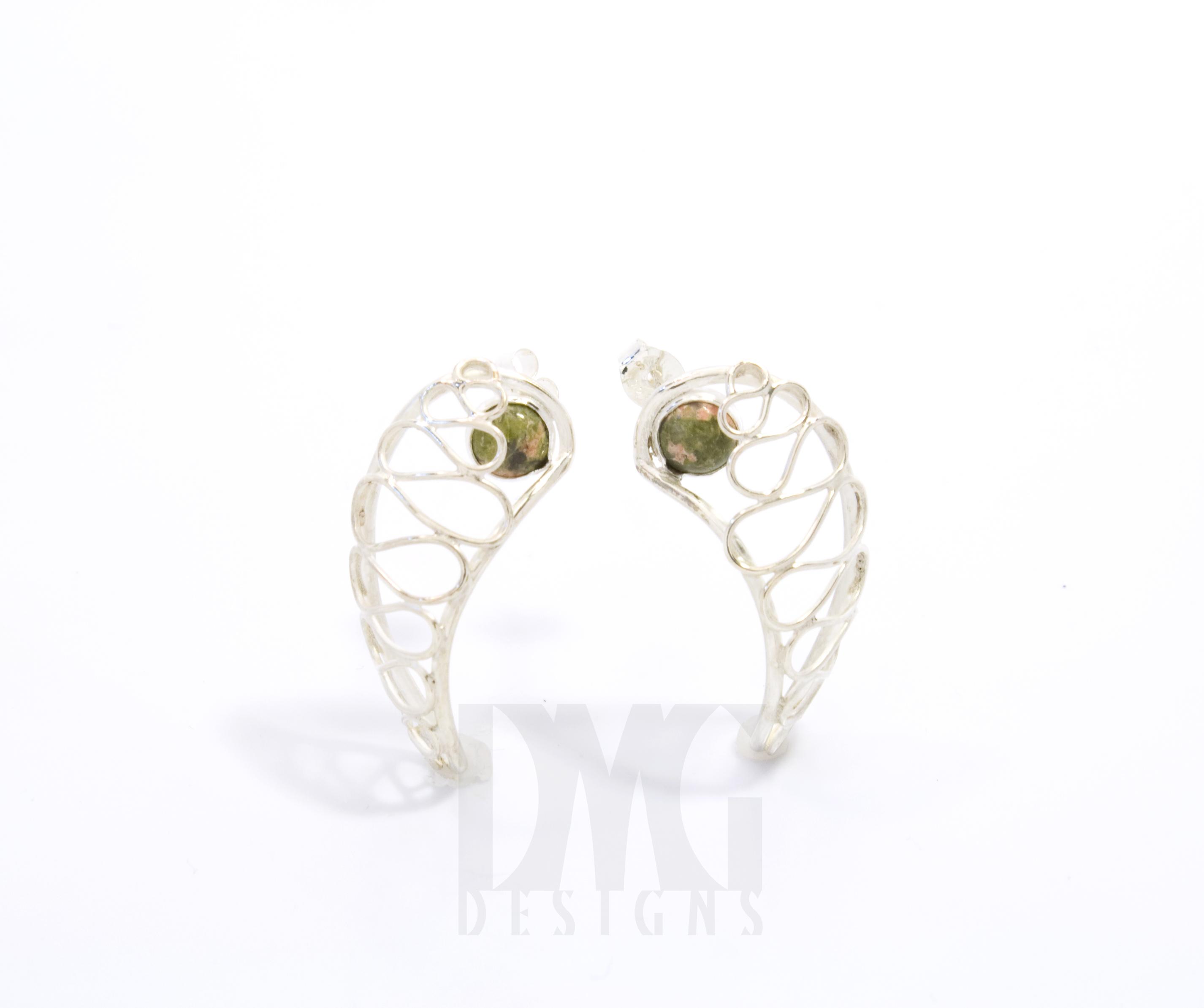 Unakite Gesture Nautilus Wirework Earrings