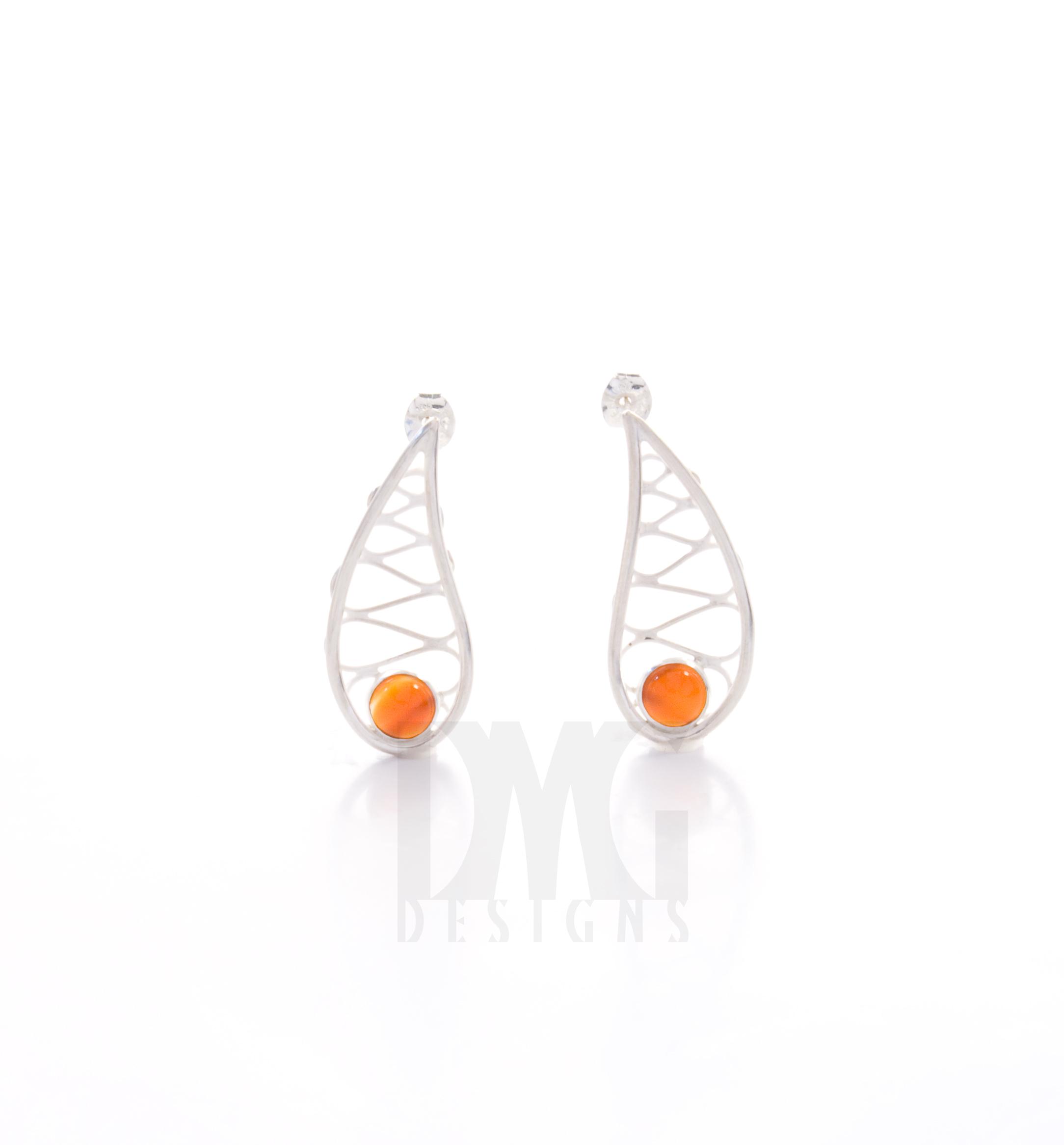 Carnelian Leaf Wirework Gesture Earrings