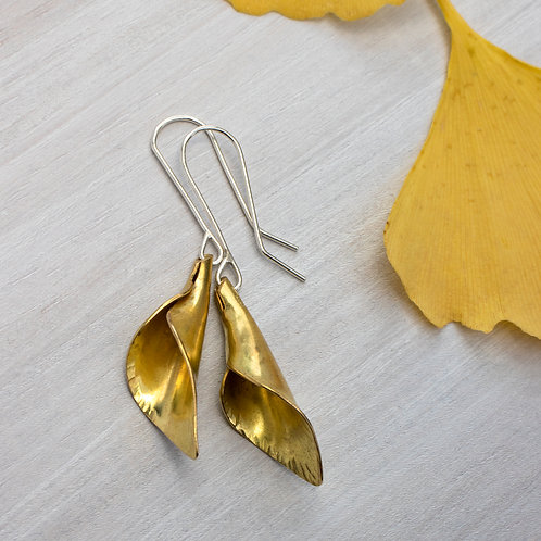 Brass Calla Lily Dangle Earrings