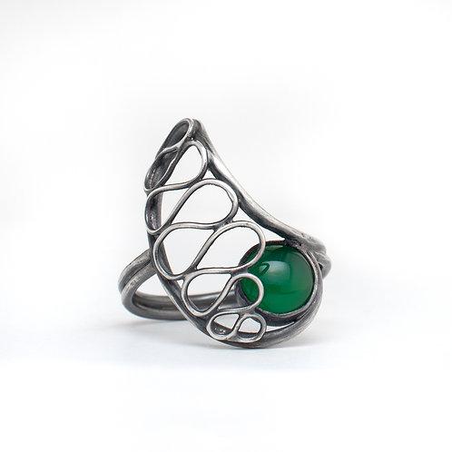 Nautilus Lace Ring - Green Onyx