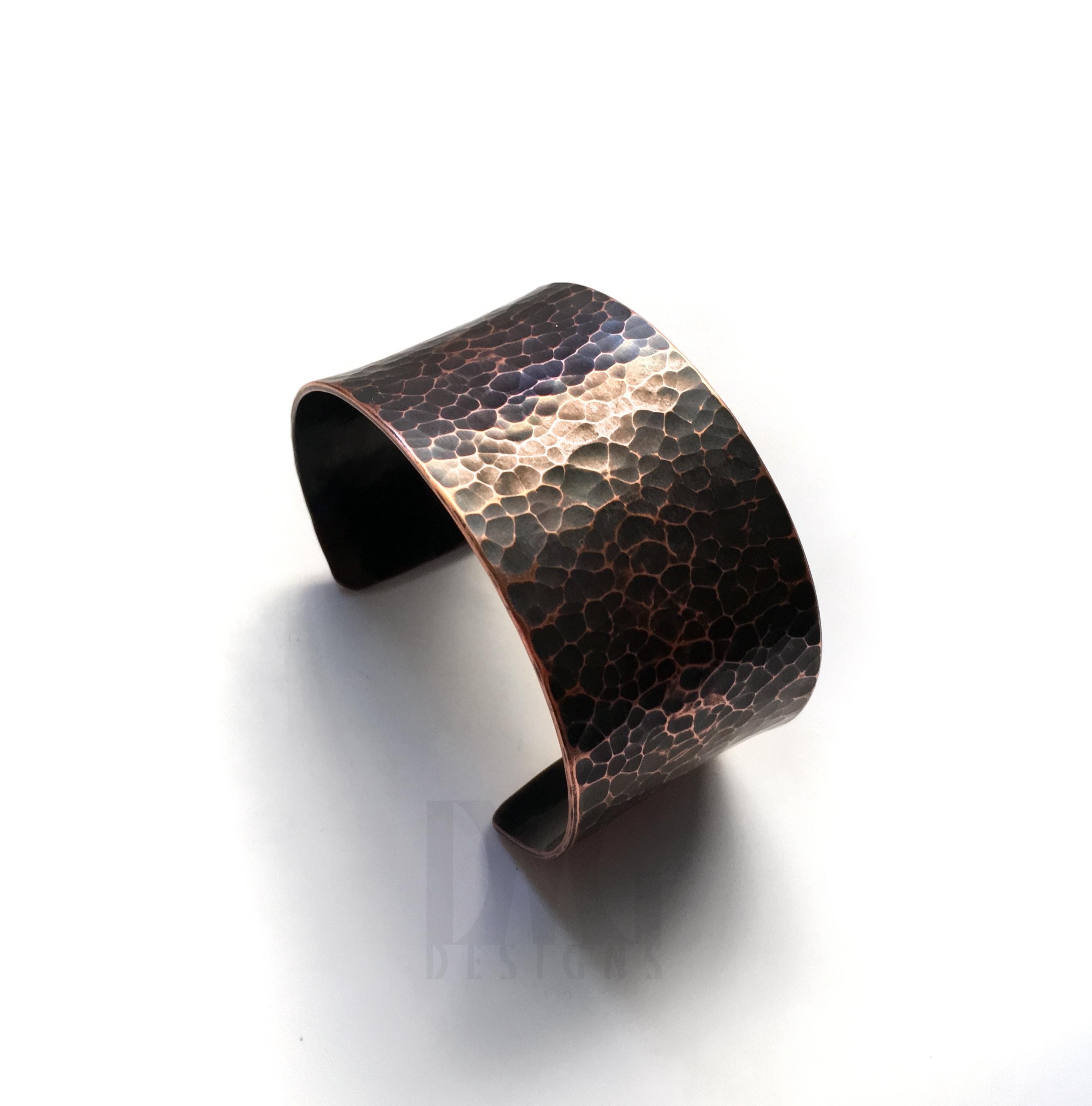 X Wide Hammered Cuff Copper