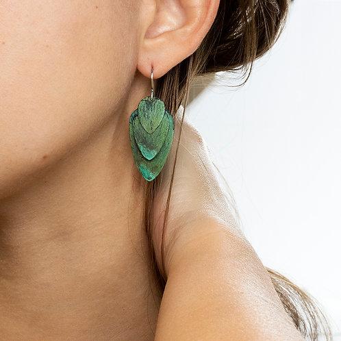 Green Scales Dangle Earrings