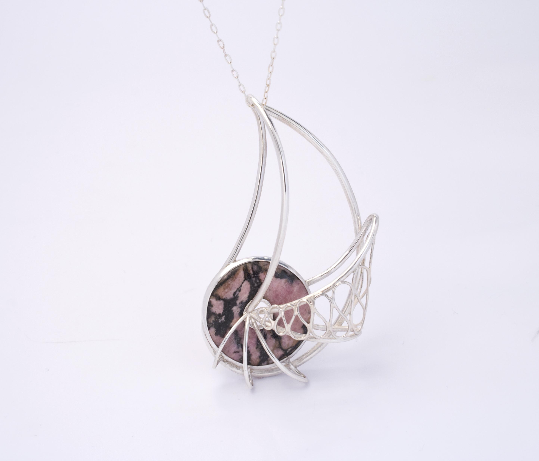 Rhodonite Nautilus Wireframe Pendant