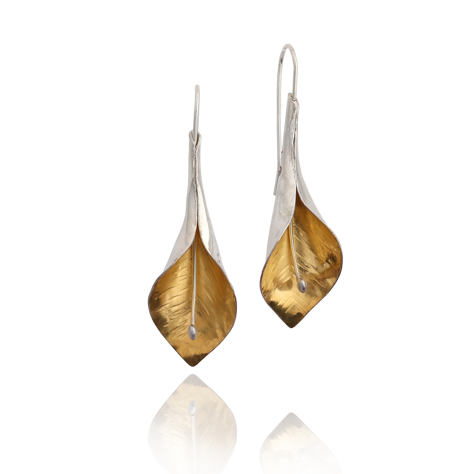 Peace Lily Dangles - silver and gold