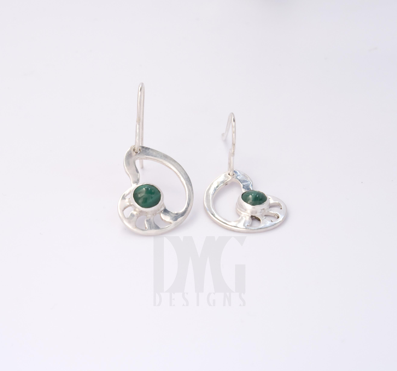 Malachite Pierced Nautilus Dangle Earrings