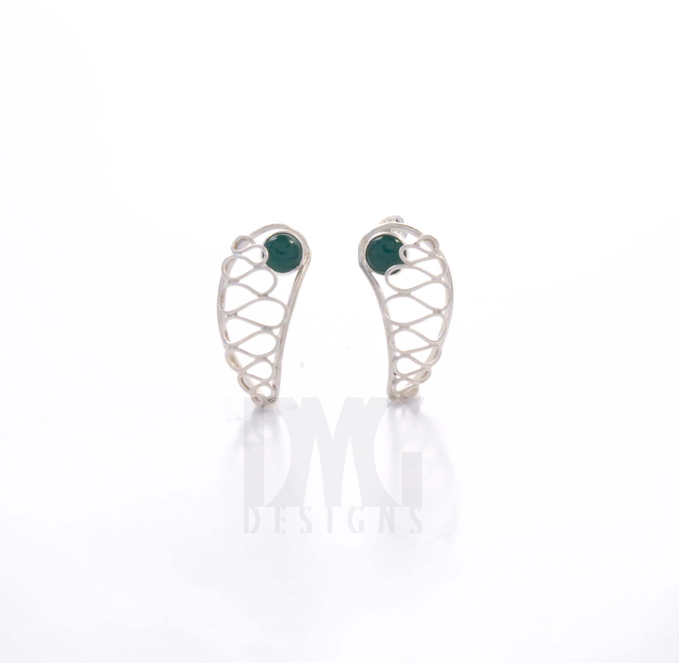 Green Onyx Gesture Nautilus Wirework Earrings