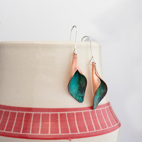Green Copper Calla Lily Dangle Earrings