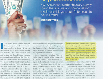 MD+DI's annual MedTech Salary Survey - 2013