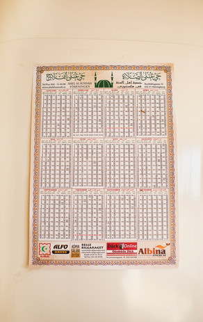 Kalender från ett av rummen