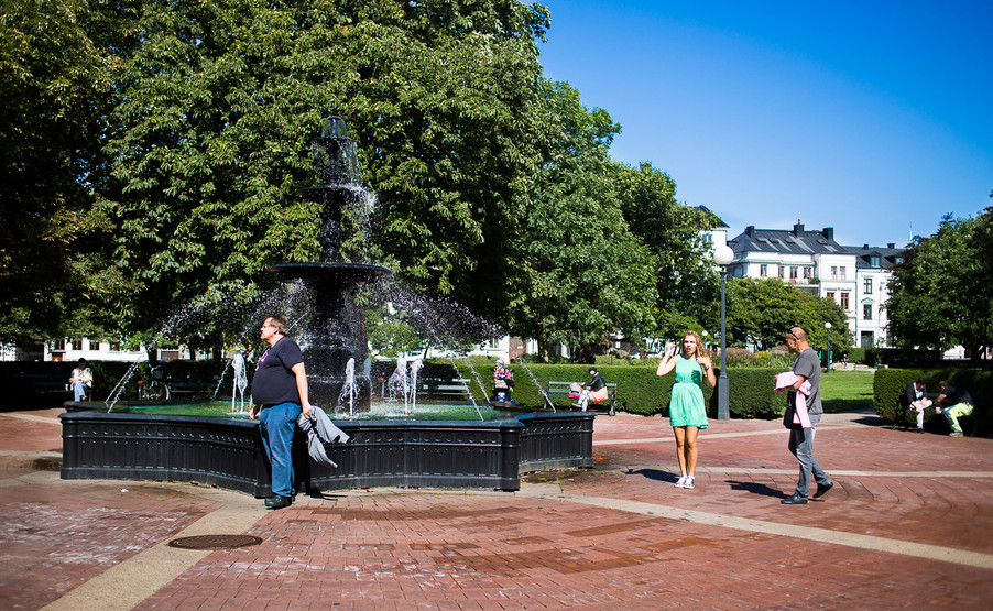 Fontän, vatten, stadsparken Helsingborg