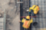 aerial view of construction worker in co