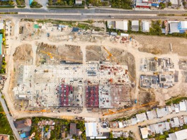 Aerial view (top view) of construction s