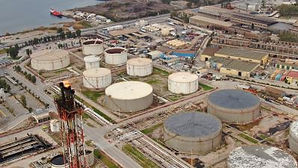 Aerial drone photo of oil and gas refine