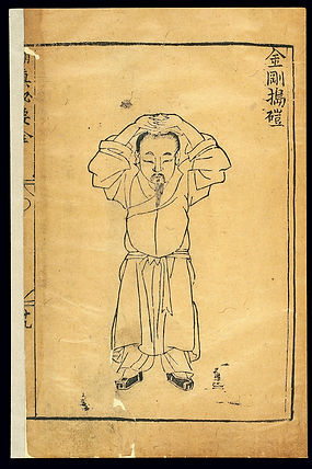 Depiction of a Qigong exercise for treating abdominal distention