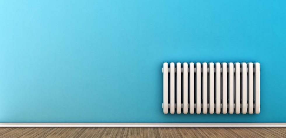 Blue wall white radiator