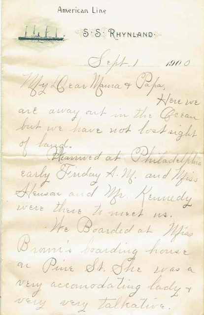Letter written on the S.S. Rhynland, Sept. 1, 1900