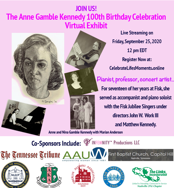 Flyer announcing the Anne Gamble Kennedy 100th Birthday Celebration/Virtual Exhibit