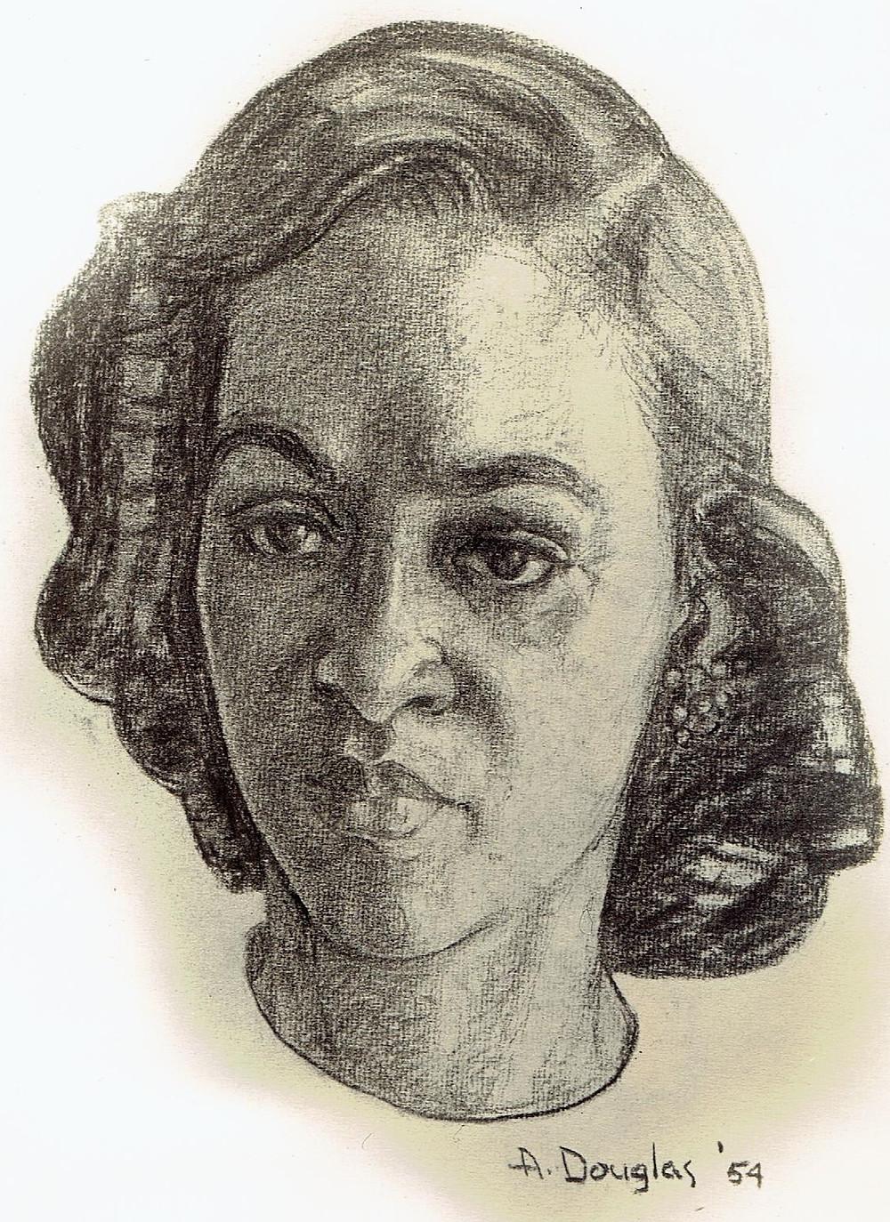 Aaron Douglas portrait of Anne Gamble