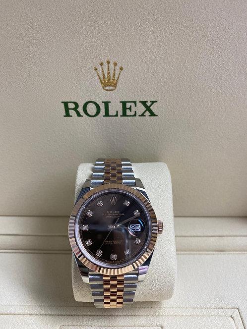 Rolex 126331 Datejust 41mm Steel Rose Gold Chocolate Diamond Dial