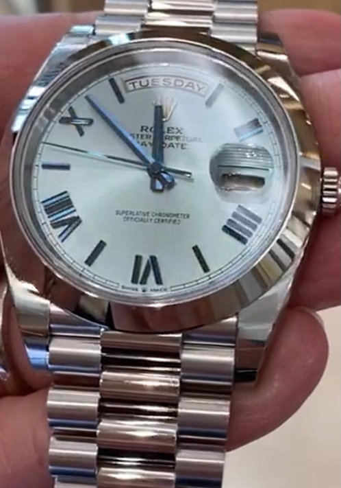 Rolex Day-Date 40 Platinum Ice Blue Baguette Dial 228206