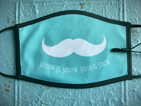 Turquoise Laugh and Stache Mask - FULL STACHE
