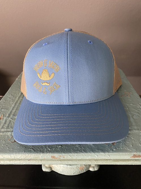 Laugh and Stache Cap - Light Blue and Tan
