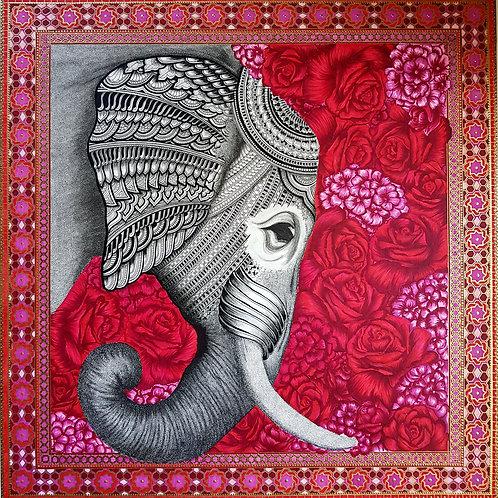 elephant in bloom print.