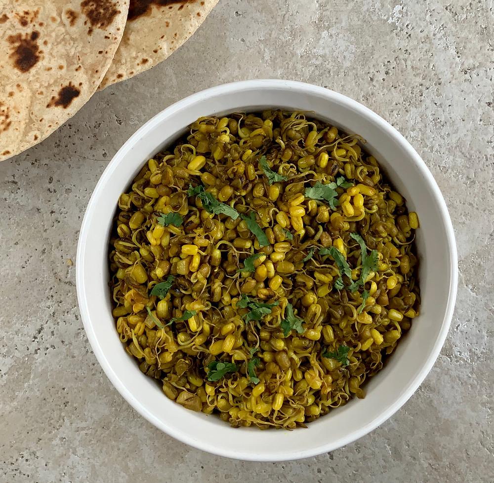 Gujarati Vagharela Sprouted Moong | The Rasoi Recipes