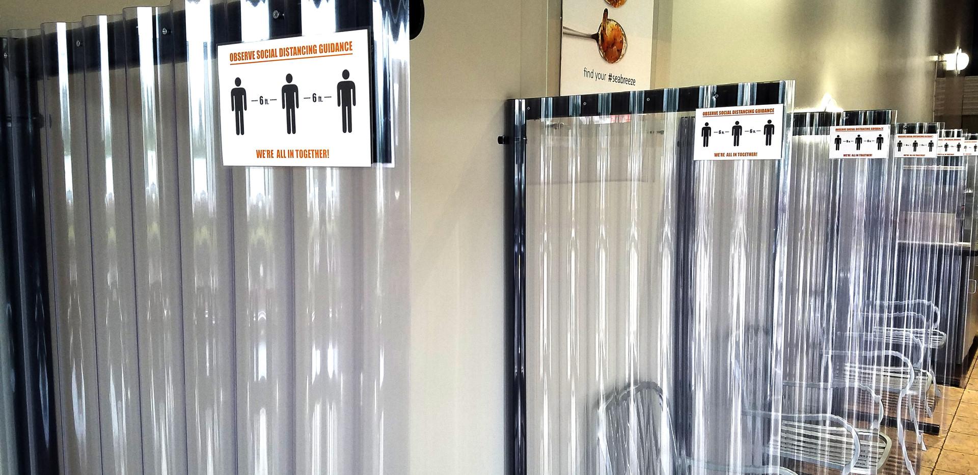 Splash guard partitions