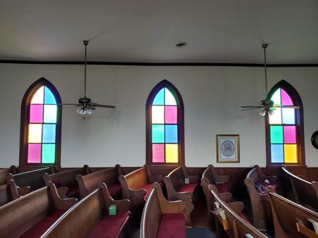 Peeled Oak Christian Church Stained Glass