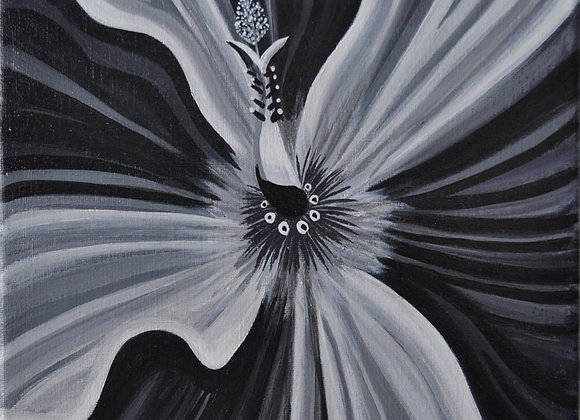 Black & White Hibiscus 9 x 12